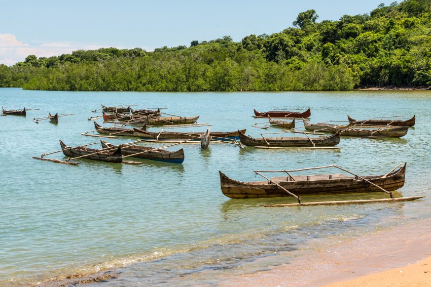 Traditional wooden pirogues on Nosy Be island