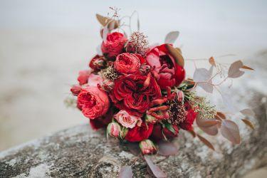Brautstrauß in Rot-Tönen