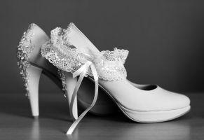 Brautschuhe mit Strumpfband