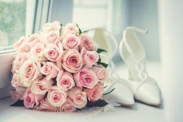 Brautstrauß Rosen altrosa